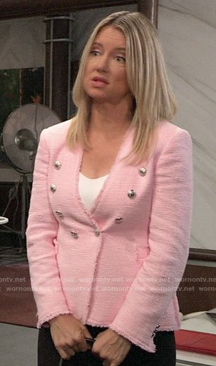 Nina's pink tweed blazer on General Hospital