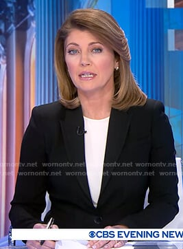Norah's black blazer on CBS Evening News