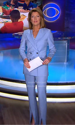 Norah's blue suit on CBS Evening News