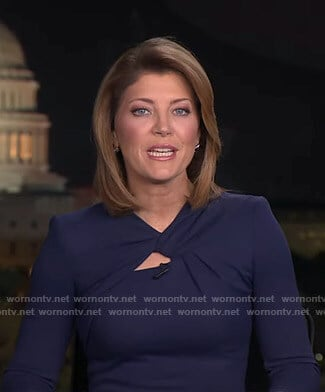 Norah's navy knotted neck dress on CBS Evening News