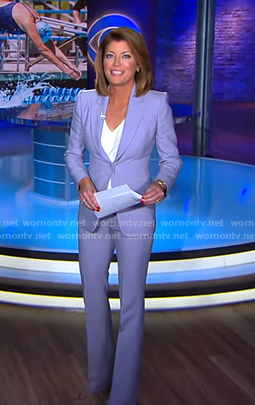 Norah's lilac suit on CBS Evening News