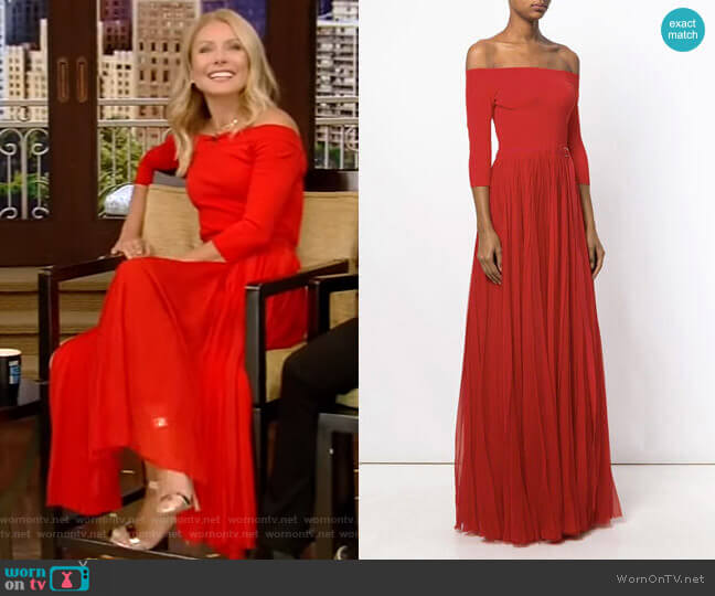 Off The Shoulder Plissé Dress by Alexander Mcqueen worn by Kelly Ripa  on Live with Kelly & Ryan