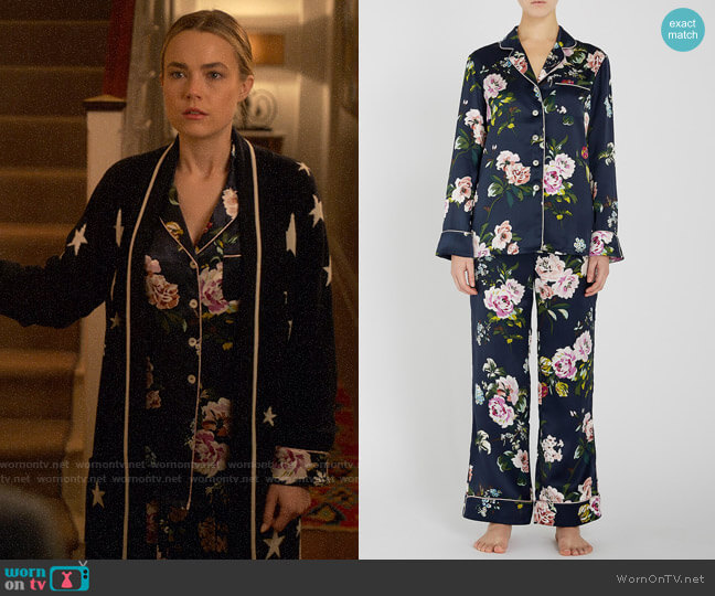 Olivia von Halle Lila Meredith Pajamas worn by Ainsley Howard (Rebecca Rittenhouse) on Four Weddings & a Funeral