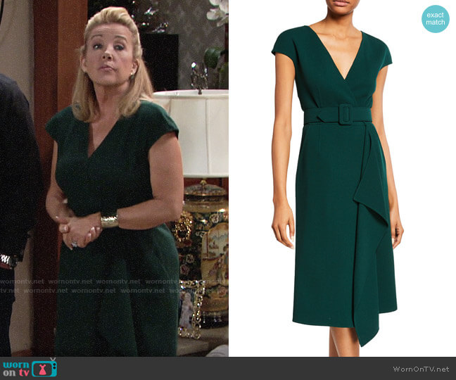 Oscar de la Renta Short-Sleeve V-Neck Belted Day Dress worn by Nikki Reed Newman (Melody Thomas-Scott) on The Young & the Restless