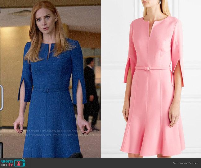 Oscar de la Renta Belted Wool Dress worn by Donna Paulsen (Sarah Rafferty) on Suits
