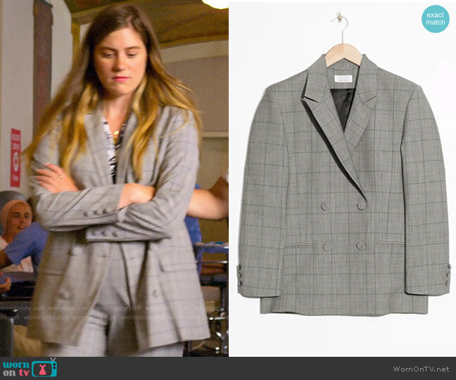 & Other Stories Oversized Double Breasted Blazer  worn by McAfee (Laura Dreyfuss) on The Politician