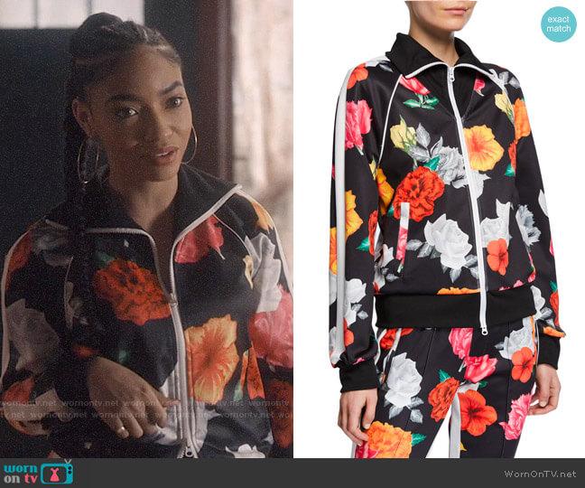 Pam & Gela Fresh-Cut Floral-Print Zip-Front Track Jacket worn by Nikki (Kadianne Whyte) on Greenleaf