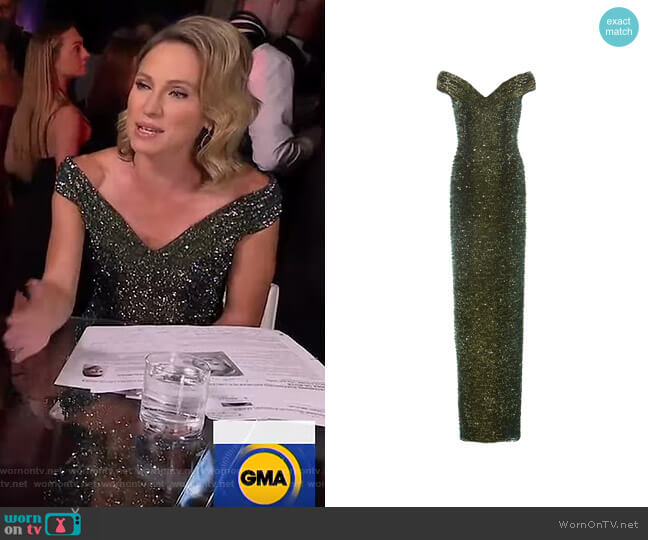 Ombre Sequined Off-The-Shoulder Gown by Pamella Roland worn by Amy Robach  on Good Morning America