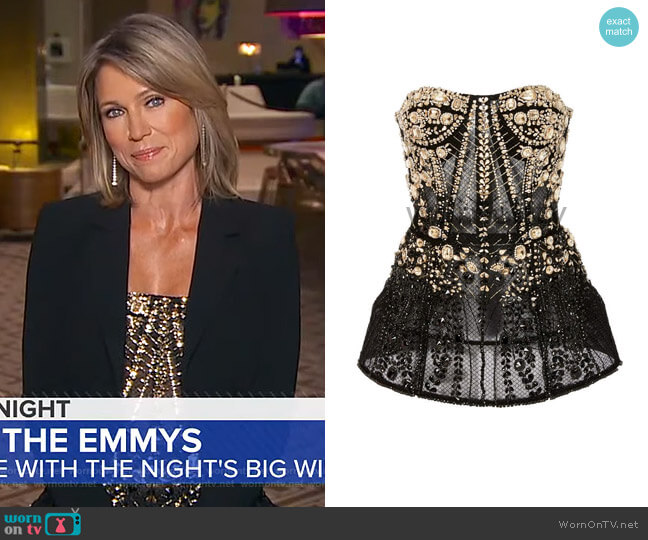 Embellished Corset by Pamella Roland  worn by Amy Robach  on Good Morning America