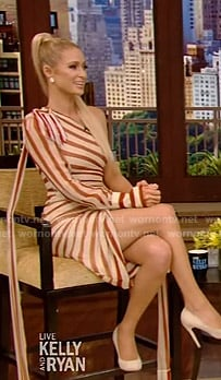 Paris Hilton's striped one-shoulder dress on Live with Kelly and Ryan