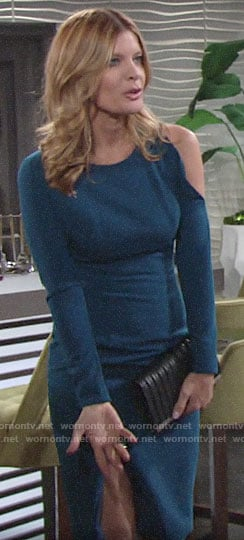 Phyllis's blue long sleeved dress with one cutout shoulder on The Young and the Restless