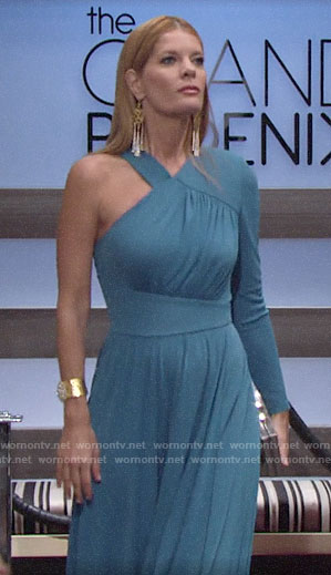 Phyllis's long blue one-sleeve dress on The Young and the Restless