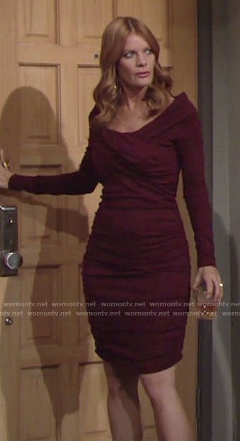 Phyllis's burgundy ruched long sleeve dress on The Young and the Restless