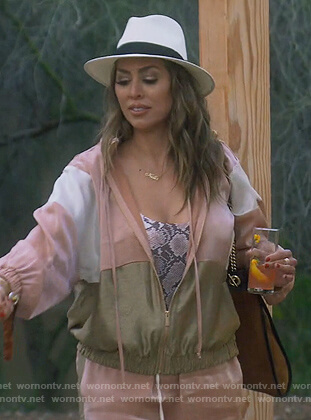 Kelly's pink velvet track jacket on The Real Housewives of Orange County
