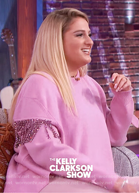 Meghan Trainor's pink embellished sweater on The Kelly Clarkson Show