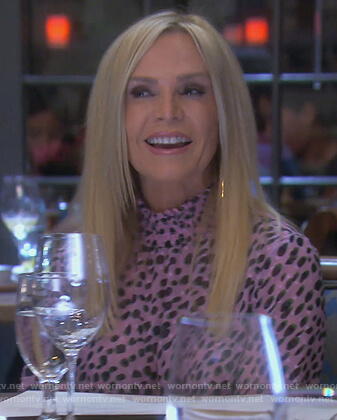 Tamra's pink leopard spot top on The Real Housewives of Orange County