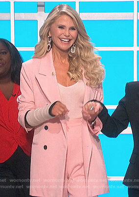 Christie Brinkley's pink double breasted jacket and shorts on The Talk