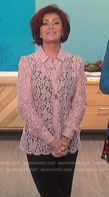 Sharon's pink floral lace blouse on The Talk
