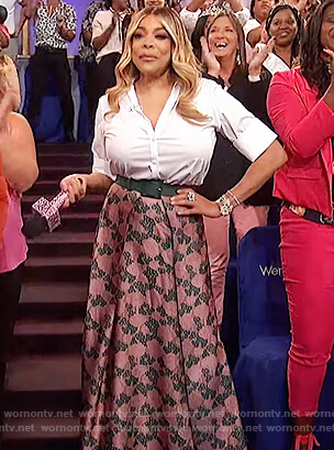 Wendy's pink floral maxi skirt on The Wendy Williams Show