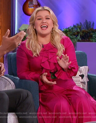 Kelly's pink belted Gucci dress on The Kelly Clarkson Show