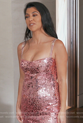 Kourtney's pink sequin dress on Keeping Up with the Kardashians