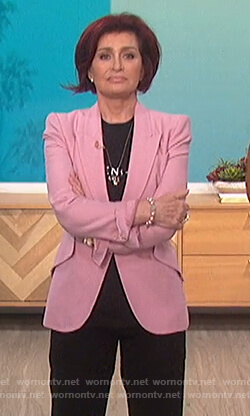 Sharon's pink blazer and Givenchy tee on The Talk