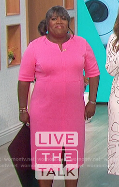 Sheryl's pink sheath dress on The Talk