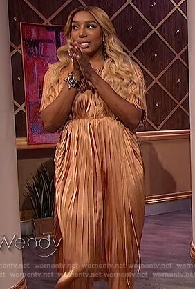 Nene Leaks satin pleated dress on The Wendy Williams Show