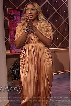Nene Leaks satin pleated dress on The Wendy Williams Show