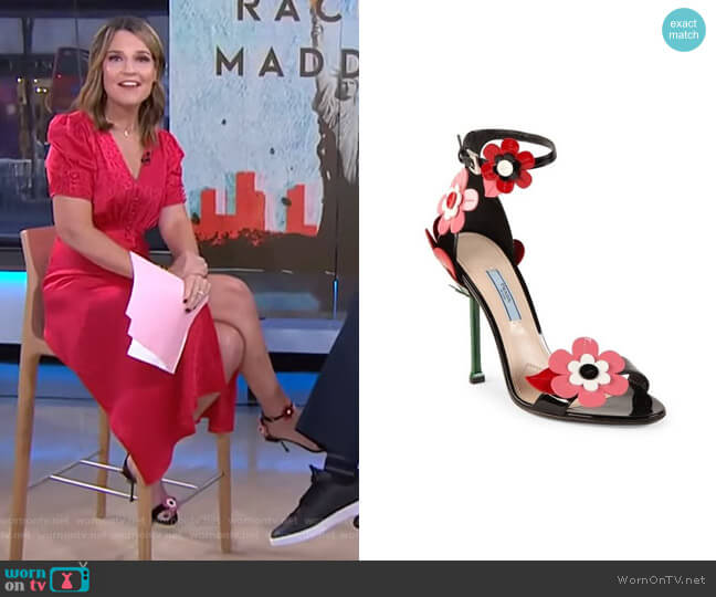 Floral-Appliquéd Sandals by Prada  worn by Savannah Guthrie  on Today