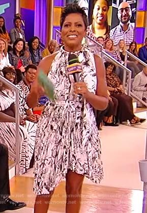 Tamron's asymmetric pleated dress on the Tamron Hall Show