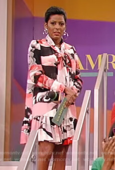 Tamron's floral tie neck dress on Tamron Hall Show