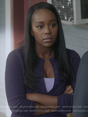 Michaela's purple cardigan on How to Get Away with Murder