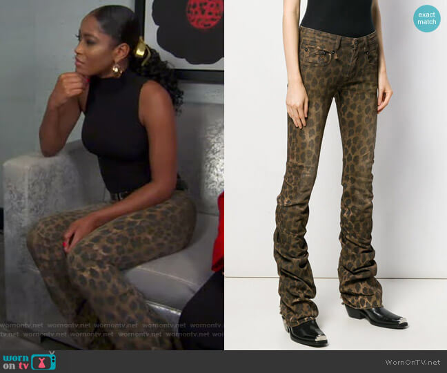Leopard Print Gathered Skinny Trousers by R13 worn by Keke Palmer  on Good Morning America