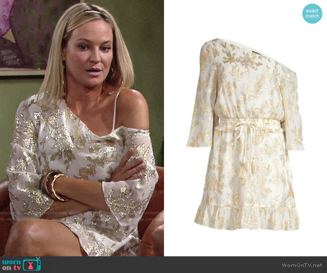 Rachel Zoe Flora Metallic Silk One-Shoulder Dress worn by Sharon Collins (Sharon Case) on The Young & the Restless