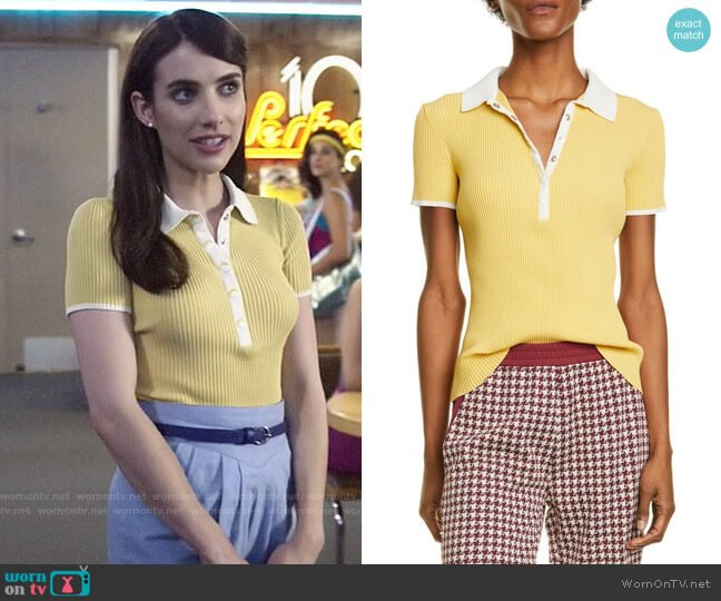 Rag & Bone Libby Polo Shirt worn by Brooke Thompson (Emma Roberts) on American Horror Story
