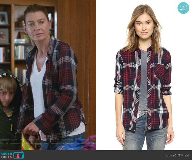 Hunter Shirt in Indigo/White by Rails worn by Meredith Grey (Ellen Pompeo) on Greys Anatomy