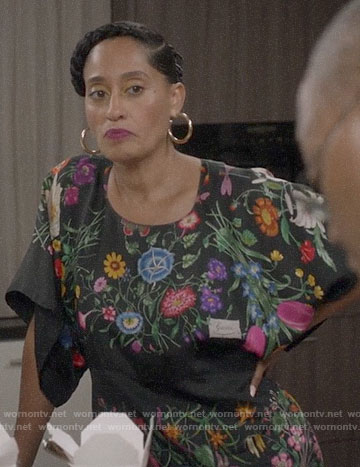 Rainbow's black floral dress on Black-ish