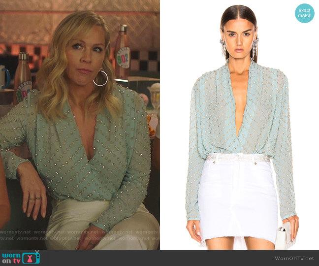 Embellished Wrap Bodysuit by Raisa & Vanessa worn by Jennie Garth  on BH90210