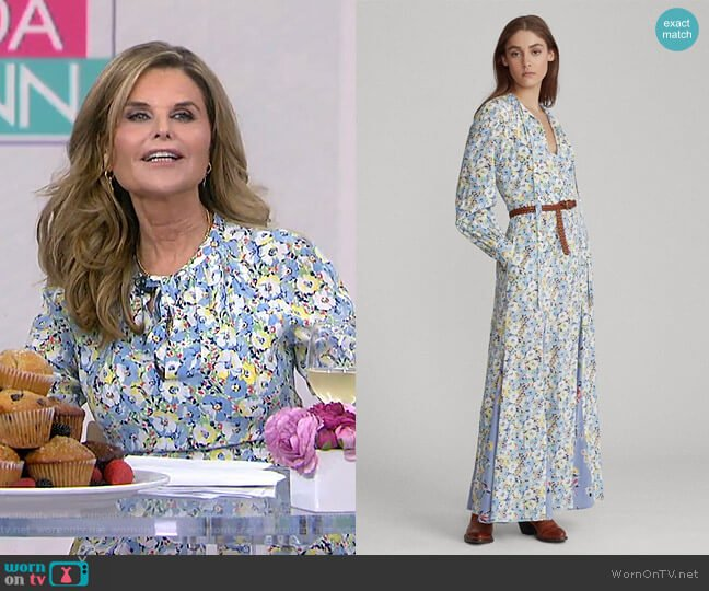 Floral Necktie Silk Maxidress by Ralph Lauren worn by Maria Shriver on Today