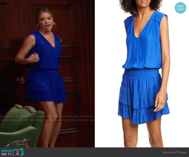 Ramy Brook Bernice Tiered Satin Dress worn by Shauna Fulton (Denise Richards) on The Bold & the Beautiful