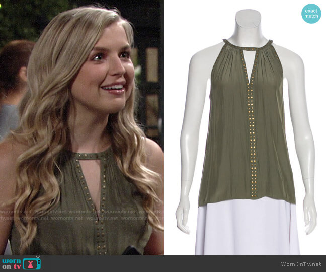 Ramy Brook Embellished Top worn by Zoe Hardisty (Anna Grace Barlow) on The Young & the Restless