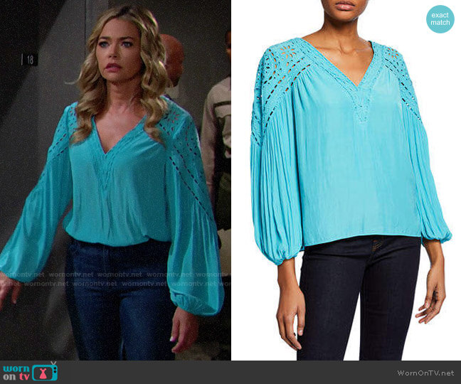 Ramy Brook Komi Top in Tile Blue worn by Shauna Fulton (Denise Richards) on The Bold & the Beautiful