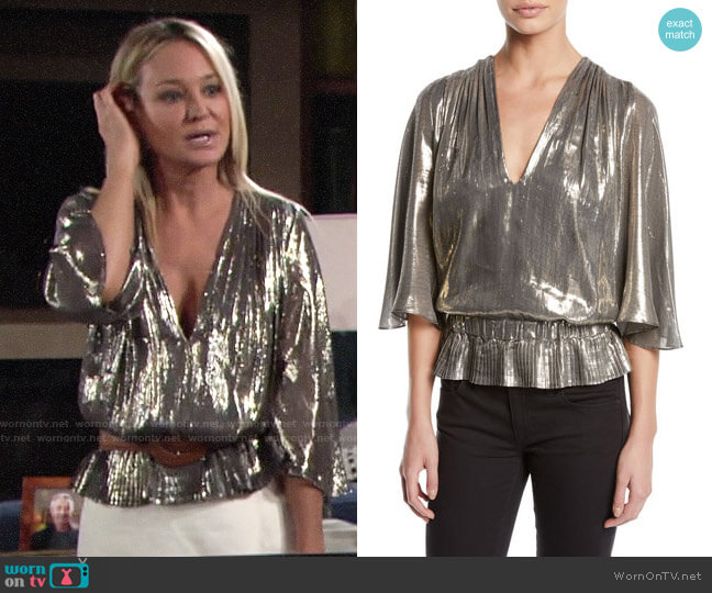 Ramy Brook Tonya Top worn by Sharon Collins (Sharon Case) on The Young & the Restless