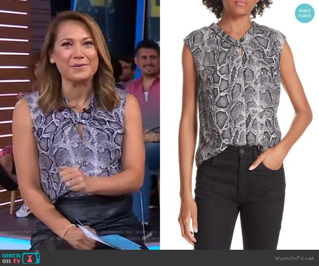 Snakeskin Print Silk Top by Rebecca Taylor worn by Ginger Zee  on Good Morning America