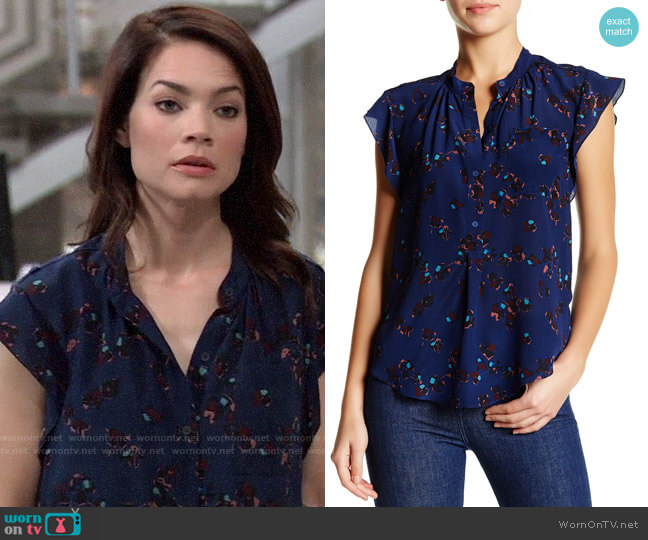 Rebecca Taylor Pinwheel Posey Silk Blouse worn by Elizabeth Webber (Rebecca Herbst) on General Hospital