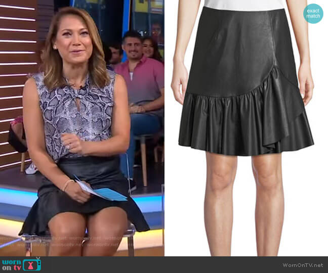 Vegan Leather Faux-Wrap Skirt by Rebecca Taylor worn by Ginger Zee  on Good Morning America
