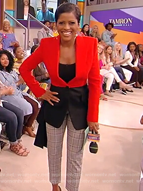 Tamron's two tone drape top and check pants on the Tamron Hall Show