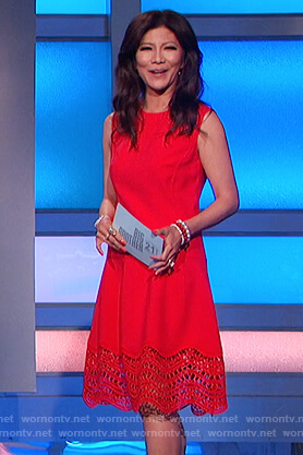Julie's red scalloped hem dress on Big Brother