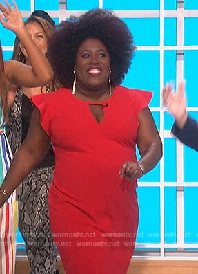 Sheryl's red flutter sleeve dress on The Talk